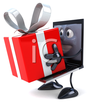 Royalty Free Clipart Image of a Laptop With a Gift