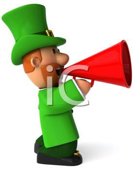 Royalty Free Clipart Image of a Leprechaun With Bullhorn