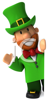 Royalty Free Clipart Image of a Waving Leprechaun