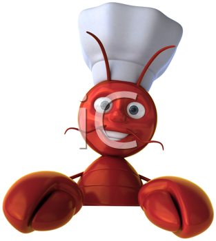 Royalty Free Clipart Image of a Smiling Lobster Chef