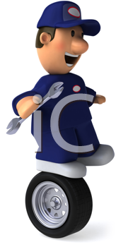 Royalty Free Clipart Image of a Mechanic on a Tire
