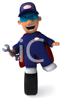 Royalty Free Clipart Image of a Mechanic Superhero