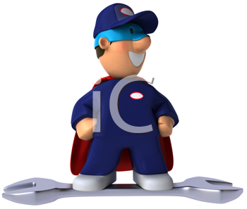 Royalty Free Clipart Image of a Superhero Mechanic on a Wrench