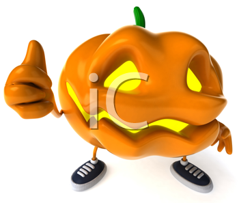 Royalty Free Clipart Image of a Jack-o-Lantern Giving a Thumbs Up