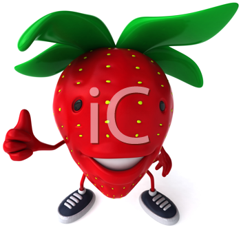 Royalty Free Clipart Image of a Strawberry Giving a Thumbs Up