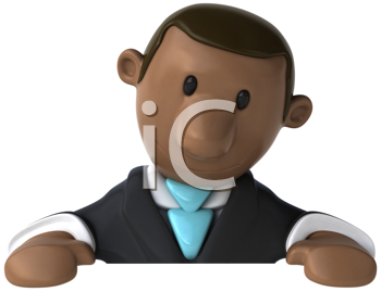 Royalty Free Clipart Image of a Dejected Man in a Suit
