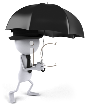 Royalty Free Clipart Image of a Man With an Umbrella