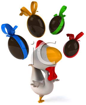 Royalty Free Clipart Image of a Chicken Juggling Chocolate Eggs