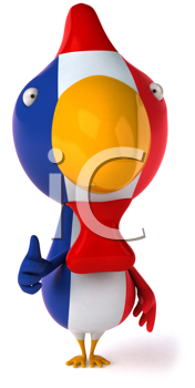 Royalty Free Clipart Image of a French Flag Chicken