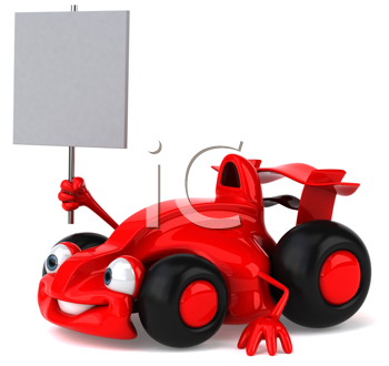 Royalty Free Clipart Image of a Sporty Car With a Sign