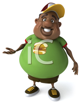 Royalty Free Clipart Image of an Overweight Black Man