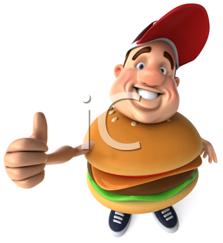 Royalty Free Clipart Image of a Man With a Burger Belly Giving a Thumbs Up