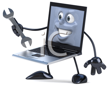 Royalty Free Clipart Image of a Laptop With a Wrench