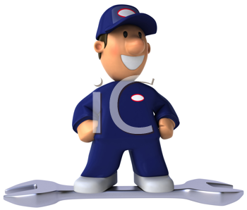 Royalty Free Clipart Image of a Mechanic on a Wrench