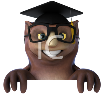 Royalty Free Clipart Image of an Owl in a Mortarboard