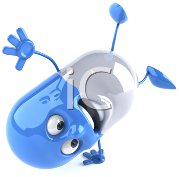 Royalty Free Clipart Image of a Capsule Doing Handsprings