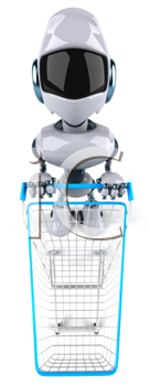 Royalty Free Clipart Image of a Robot With a Shopping Cart