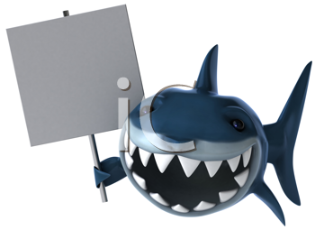 Royalty Free Clipart Image of a Shark With a Poster