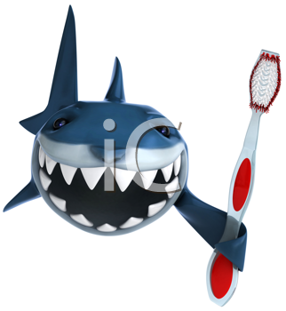 Royalty Free Clipart Image of a Shark With a Toothbrush