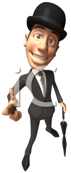 Royalty Free Clipart Image of a Man Wearing a Bowler