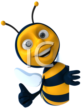 Royalty Free Clipart Image of a Bee Giving a Thumbs Up