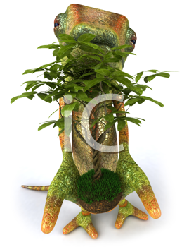 Royalty Free Clipart Image of a Lizard With a Leafy Plant