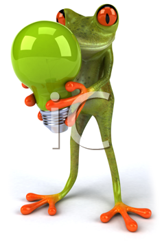 Royalty Free Clipart Image of a Frog With a Light Bulb