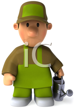 Royalty Free Clipart Image of a Sad Man With a Sprinkler