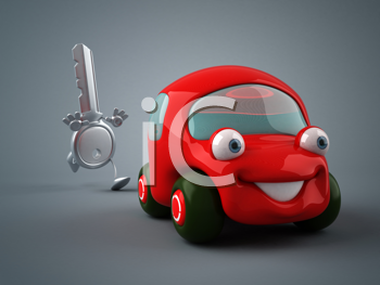 Royalty Free Clipart Image of a Key Chasing a Car