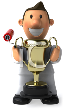 Royalty Free Clipart Image of a Painter With a Trophy