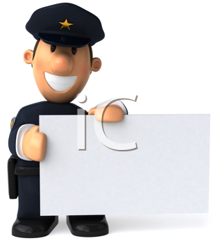 Royalty Free Clipart Image of a Cop With a Blank Sign