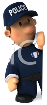 Royalty Free Clipart Image of a Cop Looking From Behind Something