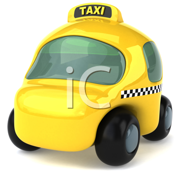 Royalty Free Clipart Image of a Yellow Taxicab