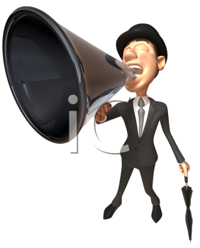 Royalty Free Clipart Image of an Englishman With a Bullhorn