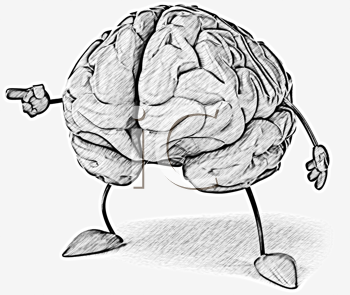 Royalty Free Clipart Image of a Pointing Brain