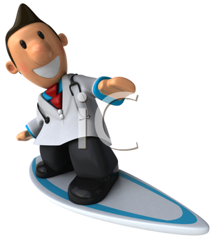Royalty Free Clipart Image of a Surfing Doctor