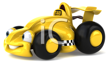 Royalty Free Clipart Image of a Sporty Cab
