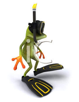 Royalty Free Clipart Image of a Frog Scuba Diver