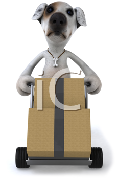 Royalty Free Clipart Image of a Dog Moving Boxes