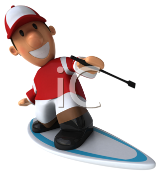 Royalty Free Clipart Image of a Surfing Jockey
