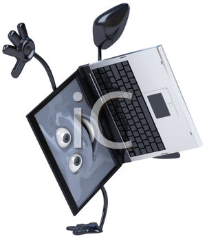 Royalty Free Clipart Image of a Laptop Doing a Handspring