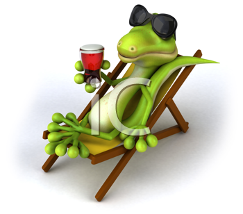 Royalty Free Clipart Image of a Lizard Drinking Beer