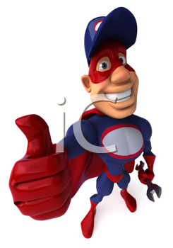 Royalty Free Clipart Image of a Superhero Mechanic Giving a Thumbs Up