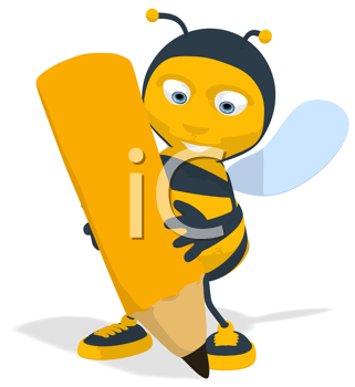 Royalty Free Clipart Image of a Bee With a Pencil
