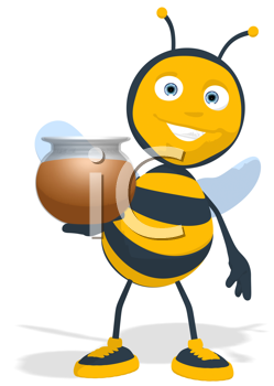 Royalty Free Clipart Image of a Bee With a Honeypot
