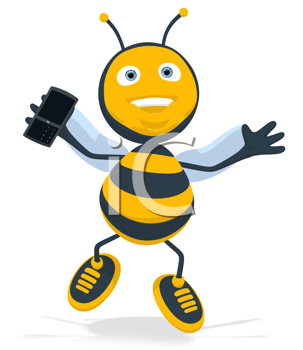 Royalty Free Clipart Image of a Happy Bee With a Cellphone