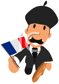 Royalty Free Clipart Image of a French Man With a Baguette and Flag