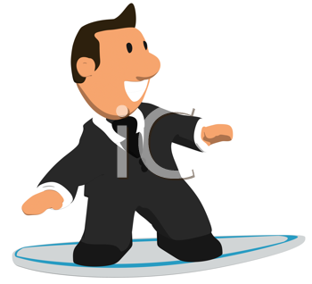Royalty Free Clipart Image of a Surfing Businessman
