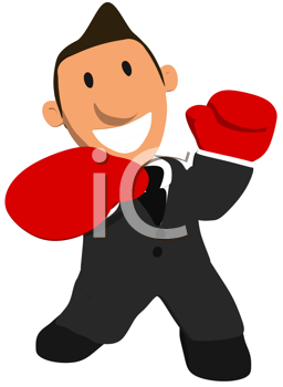 Royalty Free Clipart Image of a Man in a Suit Wearing Boxing Gloves