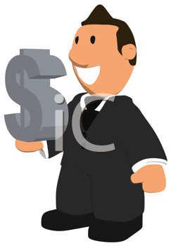Royalty Free Clipart Image of a Man Holding a Dollar Sign